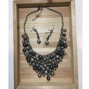 Jewelry - Silver Statement Necklace With Matching Earrings